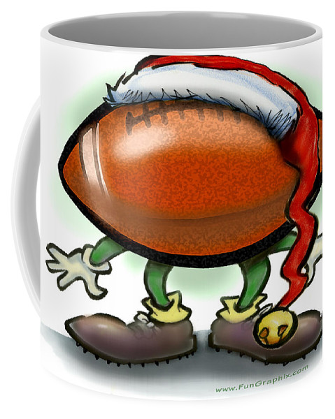 Football Coffee Mug featuring the greeting card Football Christmas by Kevin Middleton
