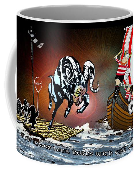 Football Calendar 2009 Derby County Football Club Doncaster Artwork Miki Coffee Mug featuring the painting Football Derby Rams Against Doncaster Vikings by Miki De Goodaboom