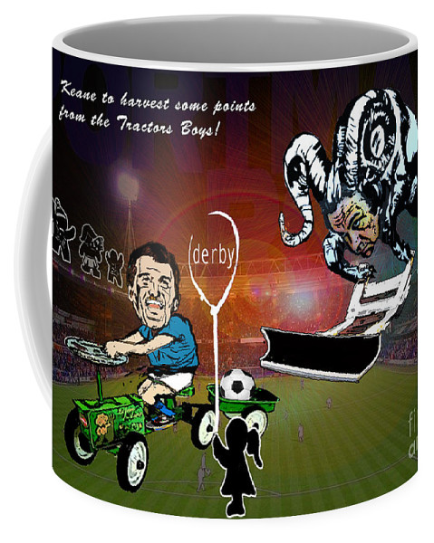 Coffee Mug featuring the painting Football Derby Rams Against Ipswich Tractor Boys by Miki De Goodaboom