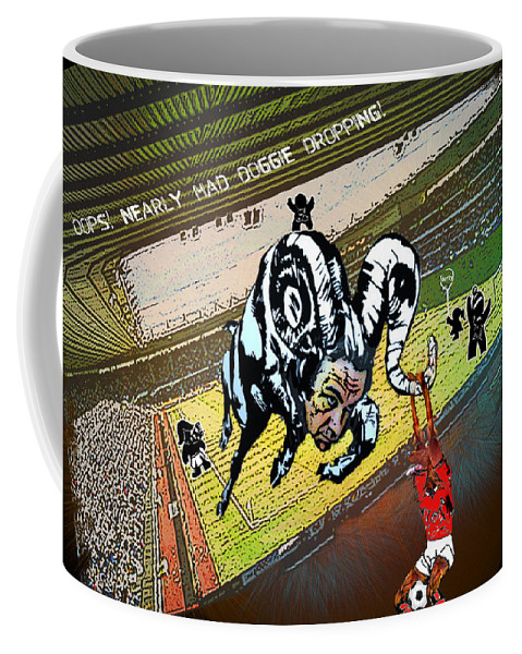 Football Calendar 2009 Derby County Football Club Nottingham Forest Artwork Miki Coffee Mug featuring the painting Football Derby Rams Against Nottingham Forest Red Dogs by Miki De Goodaboom