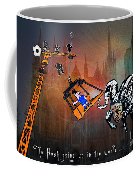 Football Calendar 2009 Derby County Football Club Peterborrough Artwork Miki Coffee Mug featuring the painting Football Derby Rams Against Peterborough Posh by Miki De Goodaboom