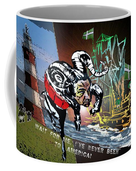 Football Calendar 2009 Derby County Football Club Plymouth Artwork Miki Coffee Mug featuring the painting Football Derby Rams Against Plymouth Pilgrims by Miki De Goodaboom