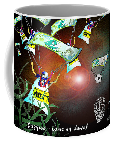 Football Calendar 2009 Derby County Football Club West Brom Artwork Miki Coffee Mug featuring the painting Football Derby Rams Against West Brom Baggies by Miki De Goodaboom