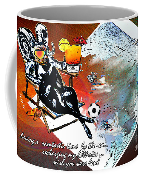 Football Calendar 2009 Derby County Football Club Artwork Miki Coffee Mug featuring the painting Football Derby Rams On Holidays By The Sea by Miki De Goodaboom