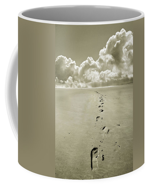 Footprints Coffee Mug featuring the photograph Footprints In Sand by Mal Bray