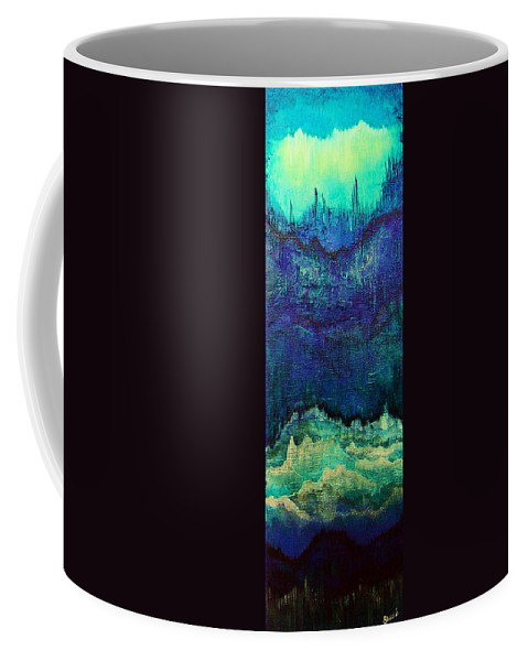 Blue Coffee Mug featuring the painting For Linda by Shadia Derbyshire