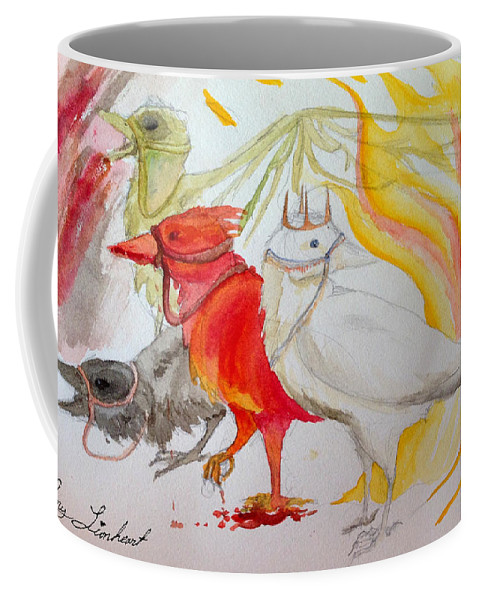 Apocalypse Coffee Mug featuring the painting For Ravens Of The Apocalypse by Amy Lionheart