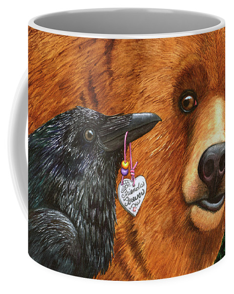 Raven Coffee Mug featuring the painting For real? by Catherine G McElroy