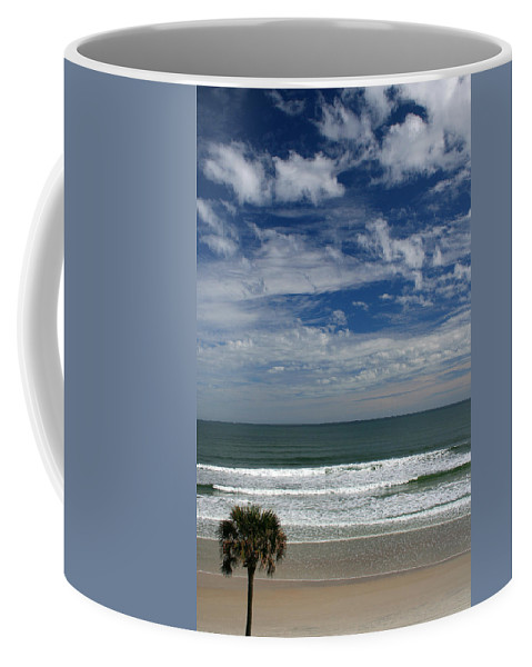 Beach Sky Cloud Clouds Blue Water Wave Waves Palmtree Tree Palm Sand Sun Sunny Vacation Travel Coffee Mug featuring the photograph For Your Pleasure by Andrei Shliakhau