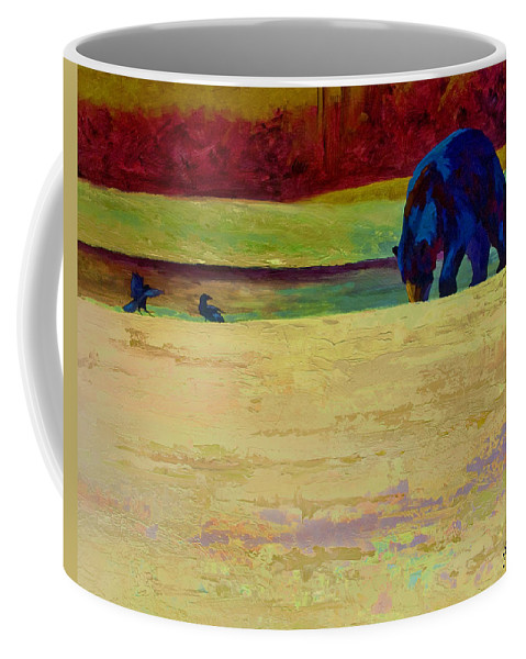 Bear Coffee Mug featuring the painting Foraging At Neets Bay - Black Bear by Marion Rose