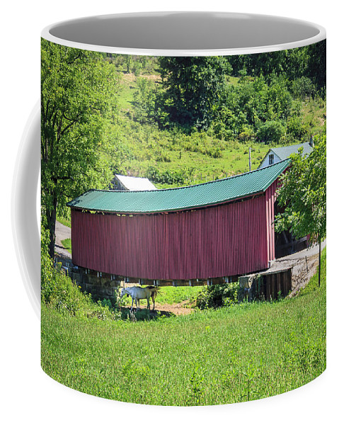 America Coffee Mug featuring the photograph Foraker Covered Bridge by Jack R Perry