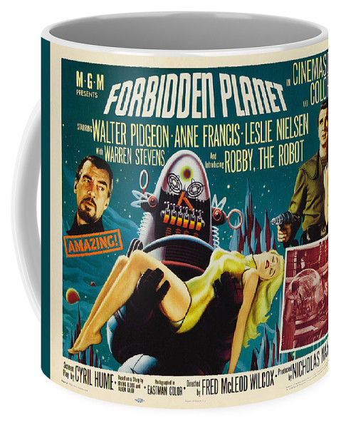 Forbidden Planet Coffee Mug featuring the painting Forbidden Planet In Cinemascope Retro Classic Movie Poster by R Muirhead Art