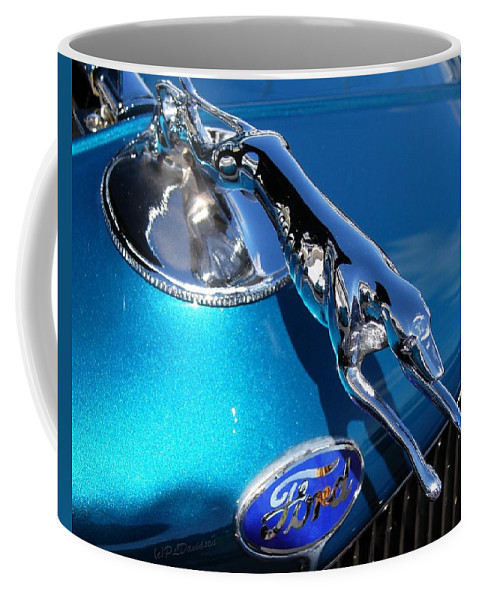 Classic Cars Coffee Mug featuring the photograph Ford Greyhound Hood Ornament by Patricia L Davidson
