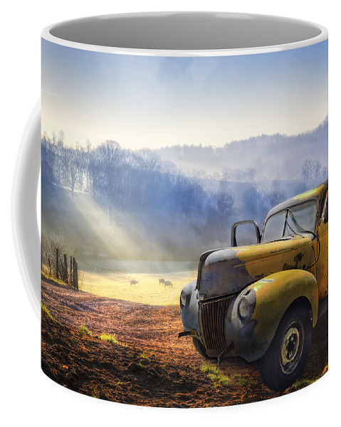 Appalachia Coffee Mug featuring the photograph Ford in the Fog by Debra and Dave Vanderlaan