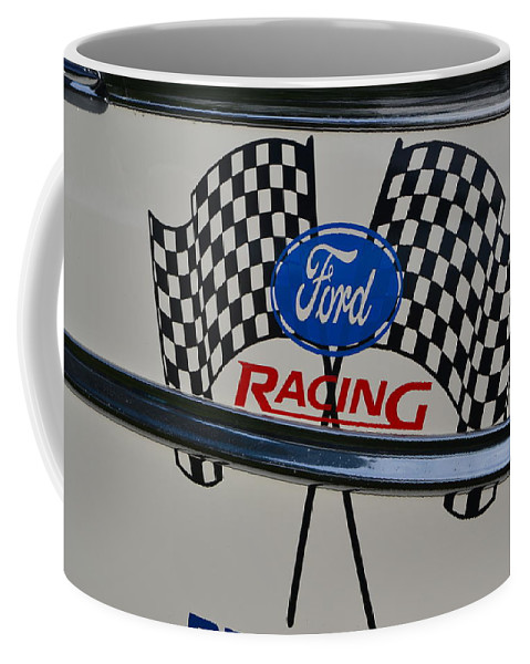 Coffee Mug featuring the photograph Ford Racing Emblem by Dean Ferreira