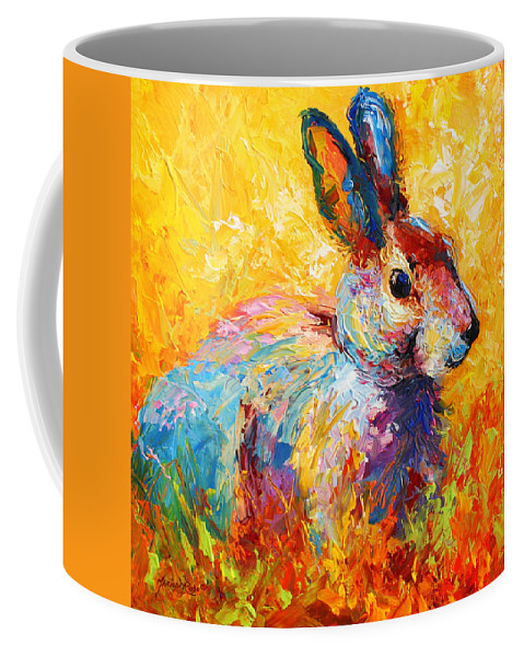 Rabbit Coffee Mug featuring the painting Forest Bunny by Marion Rose