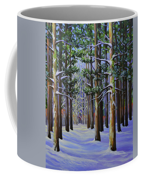 Forest Coffee Mug featuring the painting Forest Cathedral by Jane Lufkin