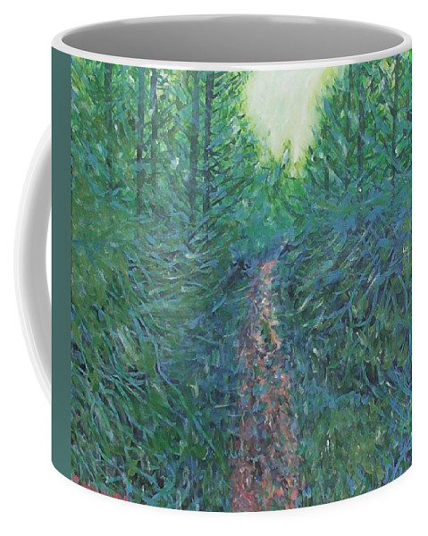 Landscape Coffee Mug featuring the painting Forest Of Green And Blue by Robbie Potter
