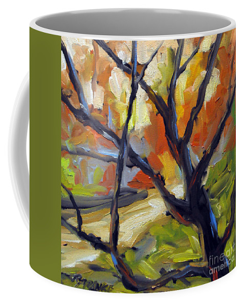 Art Coffee Mug featuring the painting Forest Path by Richard T Pranke