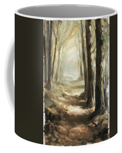 Forest Coffee Mug featuring the painting Forest Path by Steve Henderson