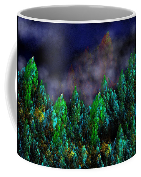 Abstract Digital Painting Coffee Mug featuring the digital art Forest Primeval by David Lane