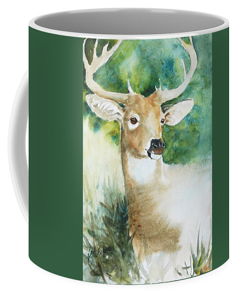 Deer Coffee Mug featuring the painting Forest Spirit by Christie Michelsen