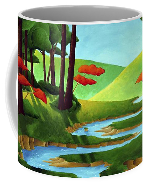 Landscape Coffee Mug featuring the painting Forest Stream - Through The Forest Series by Richard Hoedl