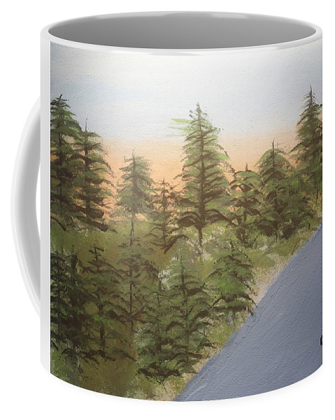 Tree Coffee Mug featuring the painting Forest Sunrise Beach by Caleb Berkeley