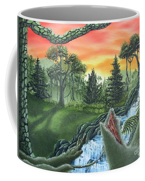 Forest Sunset Waterfall Canvas Prints Landscape Canvas Prints Painting Oldgrowth Boreal Forest Waterfall Cascade Paintings Nature Images Oldgrowth Forest Paintings Boreal Forest Paintings Appalachian Forest Paintings Forest Landscape Paintings Woodland Landscape Oil Paintings Mature Forest Sunset Paintings Fine Art Natural Landscape Oil Paintings Forest Waterfall Oil Paintings Forest Cascade Oil Paintings Forest Painting Prints Waterfall Painting Prints Natural Landscape Painting Prints Coffee Mug featuring the painting Forest Sunset Cascade by Joshua Bales