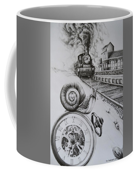 Watch Coffee Mug featuring the drawing Forever On Time by Roy Ramakers