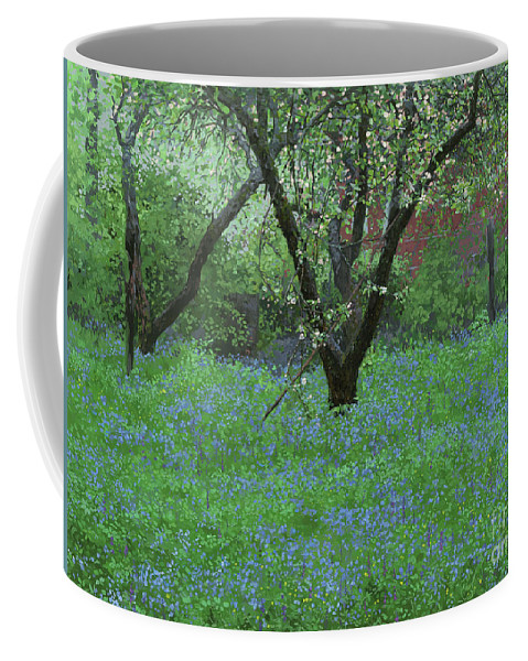 Landscape Coffee Mug featuring the painting Forget Me Not Flowers by Simon Kozhin