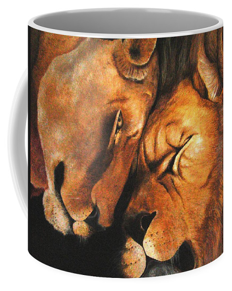 Lion Coffee Mug featuring the painting Forgiven by Glory Fraulein Wolfe