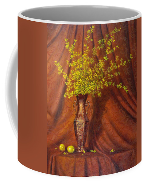Still-life Coffee Mug featuring the painting Forsythia With Lemons by Barry DeBaun