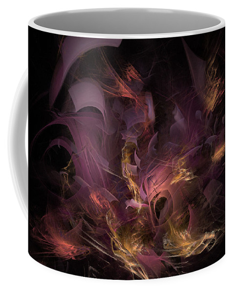 Abstract Coffee Mug featuring the digital art Fortress Of The Mind - Fractal Art by NirvanaBlues