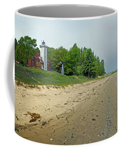 Forty Mile Point Lighthouse Coffee Mug featuring the photograph Forty Mile Point Lighthouse Springtime by Michael Peychich