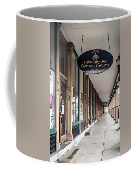 Clifton Springs Coffee Mug featuring the photograph Foster Building In Clifton Springs by Ray Sheley