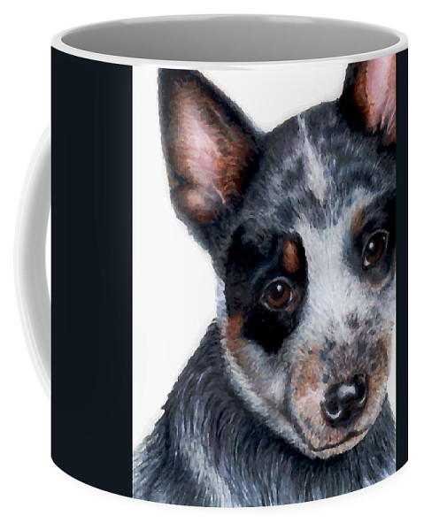 Australian Cattle Dog Coffee Mug featuring the drawing Foster Detail by Kristen Wesch