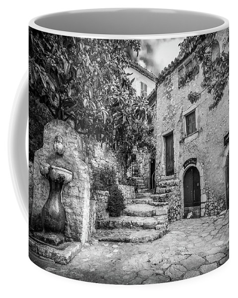 Black And White Coffee Mug featuring the photograph Fountain Courtyard In Eze, France 2, Blk White by Liesl Walsh