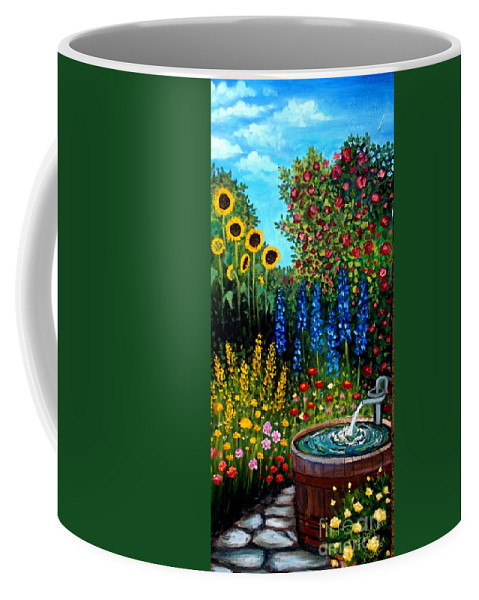 Oil Coffee Mug featuring the painting Fountain Of Flowers by Elizabeth Robinette Tyndall