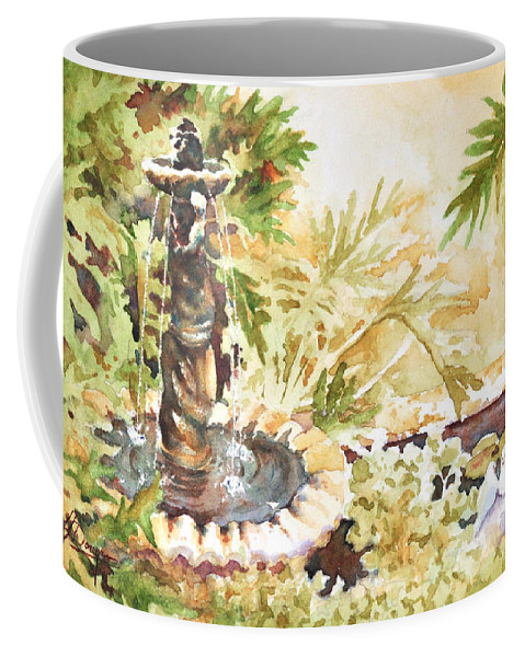 Watercolor Coffee Mug featuring the painting Fountain With Clay Birds by John Dougan