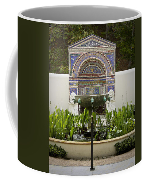 J Paul Getty Coffee Mug featuring the photograph Fountains At The Getty Villa by Teresa Mucha