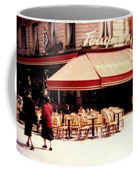 1955 Coffee Mug featuring the photograph Fouquets Of Paris 1955 by Will Borden