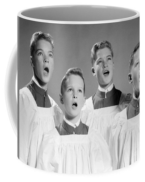 1950s Coffee Mug featuring the photograph Four Choir Boys Singing, C.1950-60s by H. Armstrong Roberts/ClassicStock