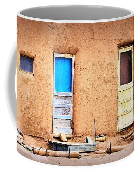 Taos Pueblo Coffee Mug featuring the photograph Four Doors At Taos by Nadalyn Larsen