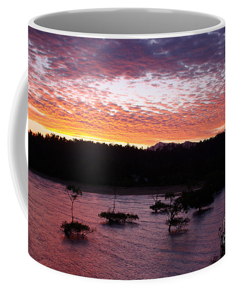 Landscape Coffee Mug featuring the photograph Four Elements Sunset Sequence 3 Coconuts Qld by Kerryn Madsen - Pietsch
