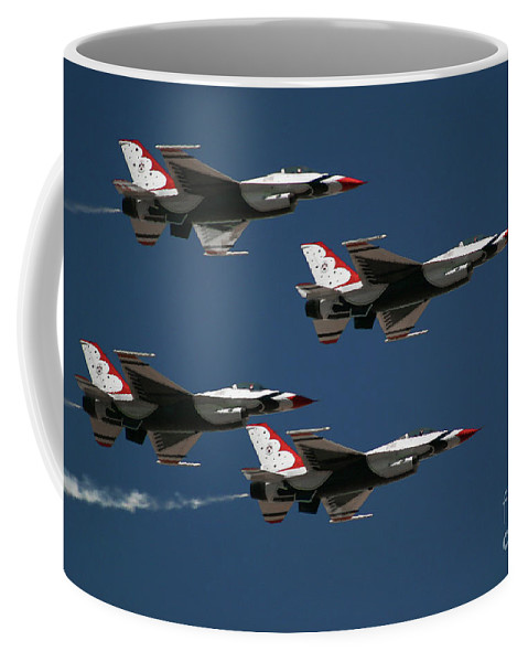 2 Coffee Mug featuring the photograph Four In Flight by Chandra Nyleen
