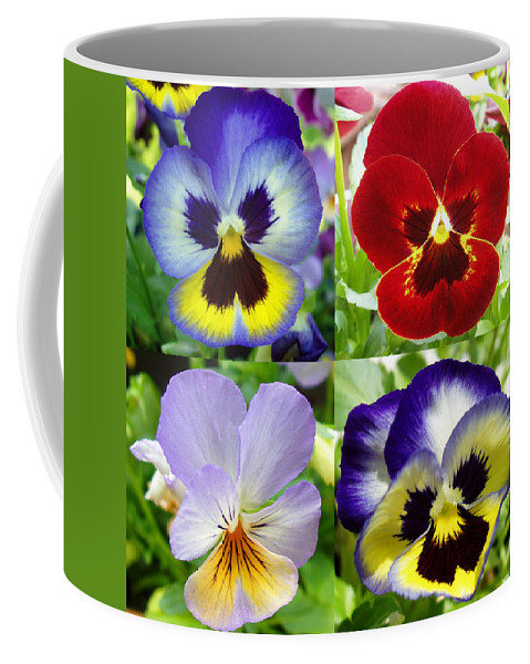 Pansy Coffee Mug featuring the photograph Four Pansies by Nancy Mueller