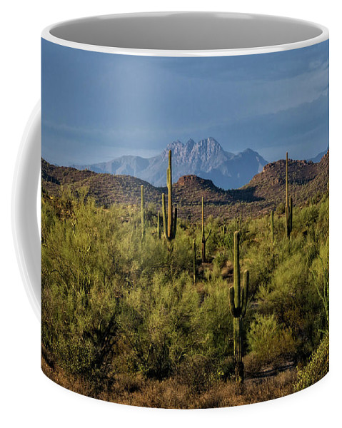 Arizona Coffee Mug featuring the photograph Four Peaks On The Horizon by Saija Lehtonen