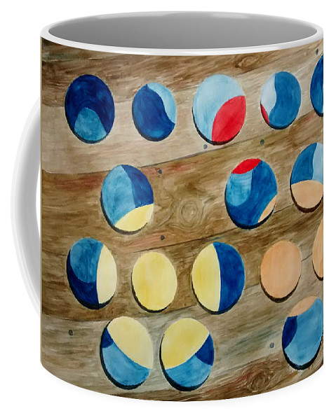 Circles Coffee Mug featuring the painting Four Rows of Circles on Wood by Andrew Gillette