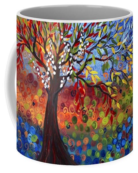 Art Coffee Mug featuring the painting Four Seasons by Luiza Vizoli